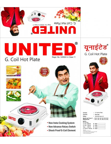United 006-Crusher 750 W Mixer Grinder (White, 3 Jars)